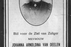 Bidprentje van de vrouw van burgemeester Bouwens Johanna van Deelen.