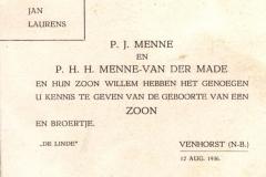 Piet en Nellie Menne - van de Made Geboortekaartje van Jan Menne